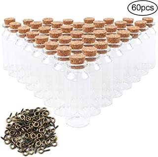CUCUMI 60pcs 25ml Mini Glass Bottles with Cork Stoppers Wish Bottles Glass Jars Bottles with 100pcs Eye Screws for Arts & Crafts, Projects, Decoration, Party Favors