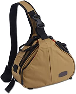 Caden K1 - Mochila bandolera impermeable para cámaras réflex digitales Canon y Nikon, diseño triangular, Amarillo
