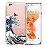 Unov Case Clear with Design Embossed Pattern Soft TPU Bumper Shock Absorption Slim Protective Case for iPhone 6s iPhone 6 4.7 inch(Great Wave)