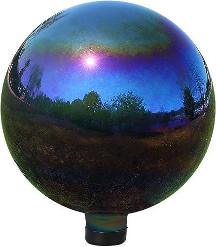 wholesale Sunnydaze Gazing Globe Glass Mirror sale Ball, high quality 10-Inch, Stainless Steel Rainbow online