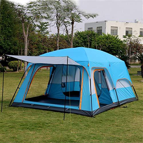 Framy 8-12 Personen Kabinenzelt Familienzelt Winddichter Regen Wasserdichtes UPF50 + zweischichtiges gepoltes Campingzelt DREI Zimmer Über 3000 mm für das Wandern in Oxford-Stoff,Blau