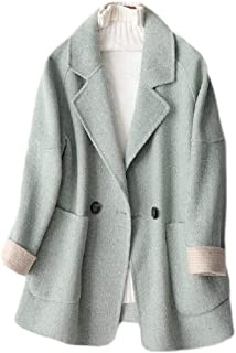 Macondoo Womens Warm Wool Blended Winter Overcoat Two Button Pea Coat Jacket