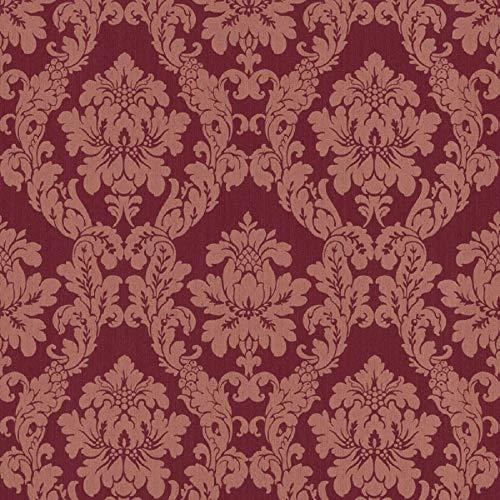 Casa Padrino Barock Viscose Textiltapete/Stofftapete Rot - 10,05 x 0,53 m - Tapete im Barockstil