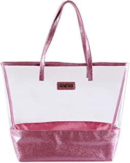 Glitter Tote Bag- Beach Bag Purse - Clear Vinyl Shoulder Bag with Glitter Accents - Pink