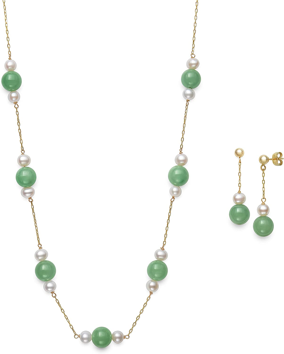 10K Yellow Gold Jade and Cultured Freshwater Pearl Necklace Earring Set
