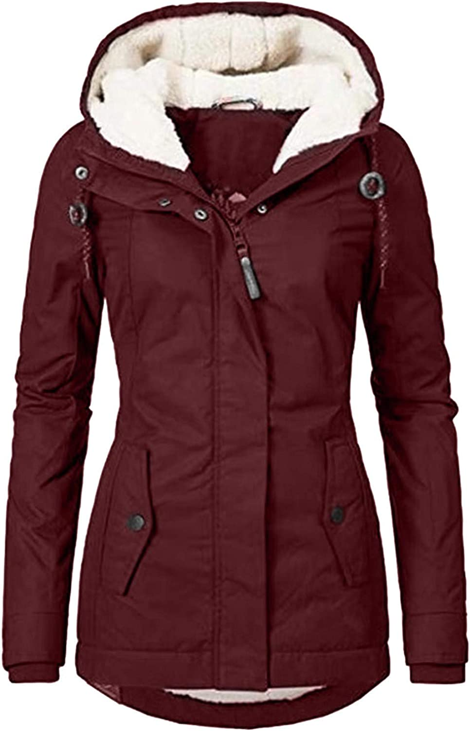 Cardigo Oversized Winter Coats for Womens Ladies Warm Jacket Outwear Fur Lined Trench Winter Hooded Thick Overcoat