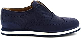 LEONARDO SHOES Luxury Fashion Mens 3793PENABUKBLUE Blue Lace-Up Shoes | Season Permanent