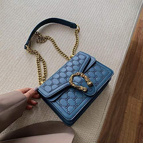 PANZZ Sac carré pour Femme Sac à Main pour Femme Chaîne Fourre-Tout Sacs à bandoulière pour Messager, Petit Bleu