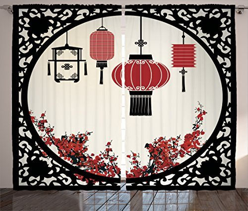 Ambesonne Lantern Curtains, Lanterns with Japanese Sakura Cherry Blossom Trees Round Ornate Graphic, Living Room Bedroom Window Drapes 2 Panel Set, 108' X 84', Red Beige
