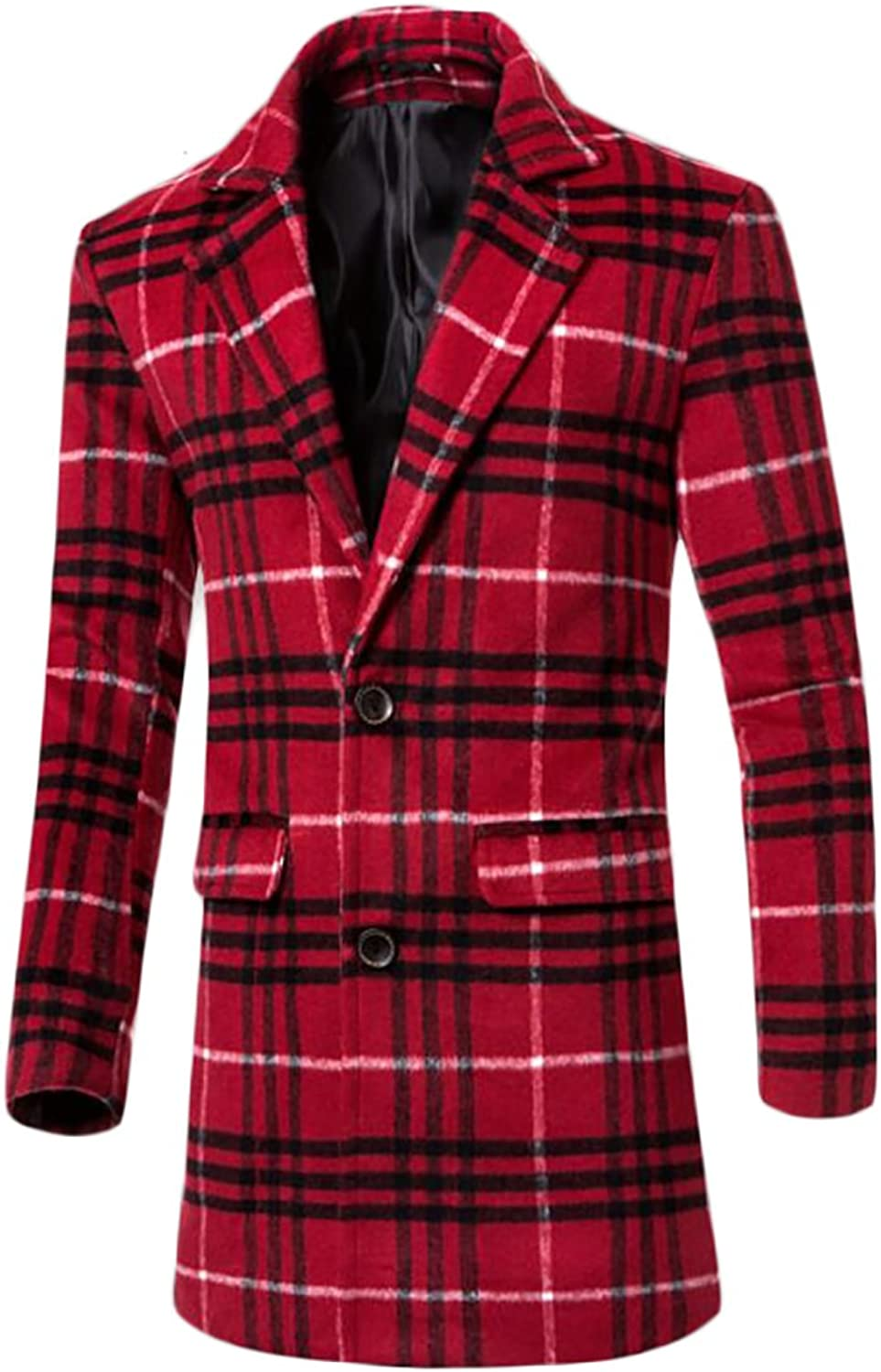 Yayu Mens Plaid Single Breasted Wool-Blend Lapel Peacoat Overcoat
