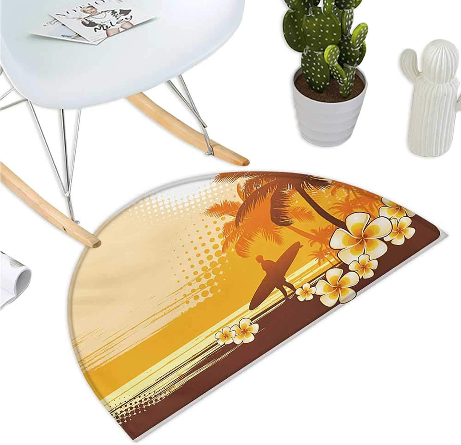 Surf Half Round Door mats Silhouette of Surfer and Tropical Landscape Free Your Mind Artsy Illustration Bathroom Mat H 39.3  xD 59  Yellow Brown orange