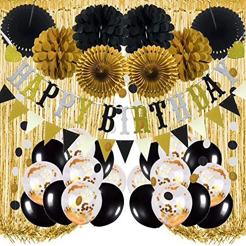 Recosis Decoraciones para Fiesta de Cumpleaños, Pancarta Negro de feliz Cumpleaños, Cortinas, Pompones y Abanicos de Papel, Guirnalda, Globos de Confeti para Decoraciones de Fiesta de Cumpleaños