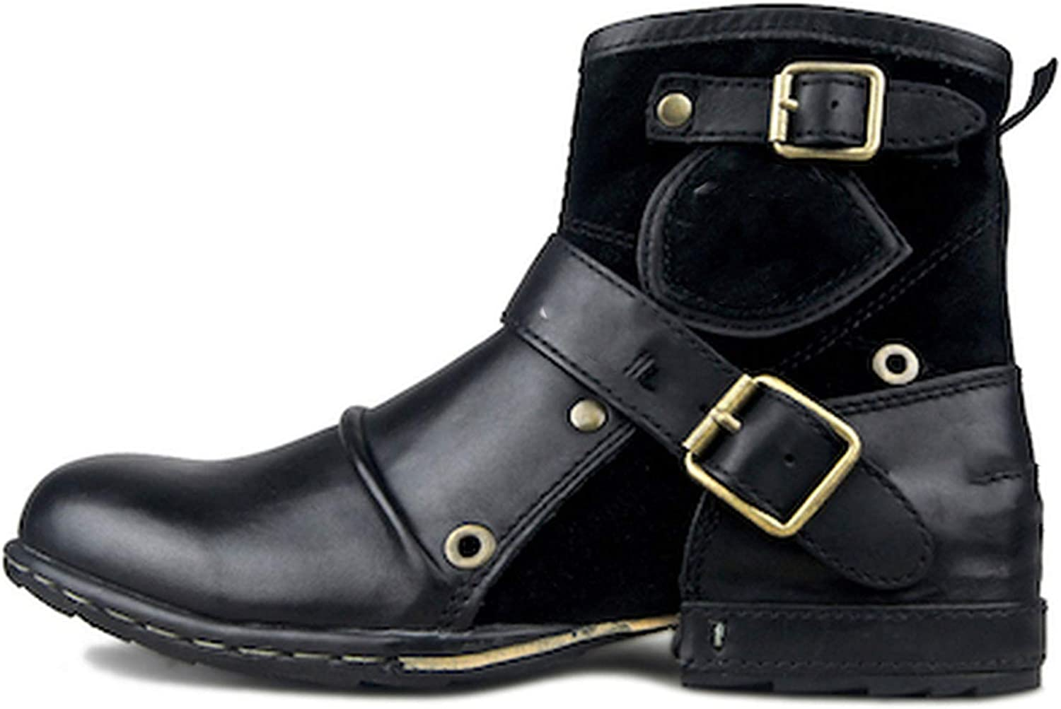 Good-Memories Men's Martin Boots Genuine Cow Leather High Top Ankle Boots