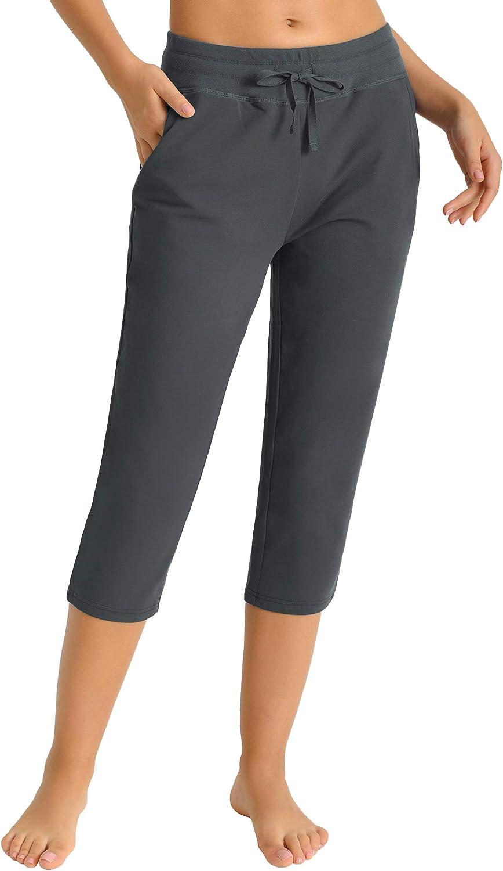 Latuza Women's New life Cotton Joggers Knit with Pockets Capri Virginia Beach Mall Pants