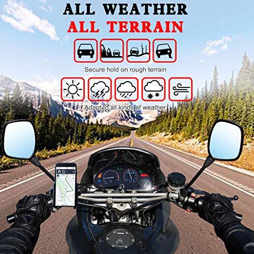 Soporte de teléfono espejo retrovisor 360 grados universal impermeable 12 V 24 V motocicleta scooter manillar soporte cargador USB para teléfono móvil de 4.5-7 pulgadas