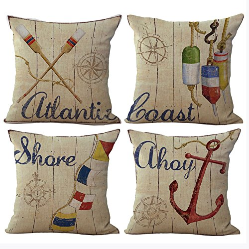 Aremazing Summer Holiday Beach Cotton Linen Home Decor Pillowcase Throw Pillow Cushion Cover 18 x 18 Inches Set of 4 Compass, Quant, Flag, Anchor (Set of 4 Vintage Nautical Theme)