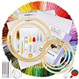 Caydo Hand Embroidery Kit with Instructions, 100 Colors Threads, 40 Sewing Pins, 3 Pieces Aida Cloth,...