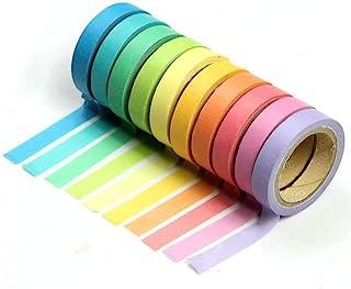 ZARRS Washi Tape Adhésif,10 Rouleaux Masking Tape Décoratifs Autocollant Washi Tape Set pour Scrapbooking DIY Artisanat Ca...