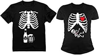 Halloween Skeleton Maternity Shirt Baby Boy X-Ray Matching Couples Set Beer Tee