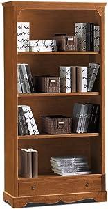 InHouse srls Libreria,Arte povera, in Legno massello e MDF con rifinitura in Noce Lucido - Mis. 94 x 36 x 189