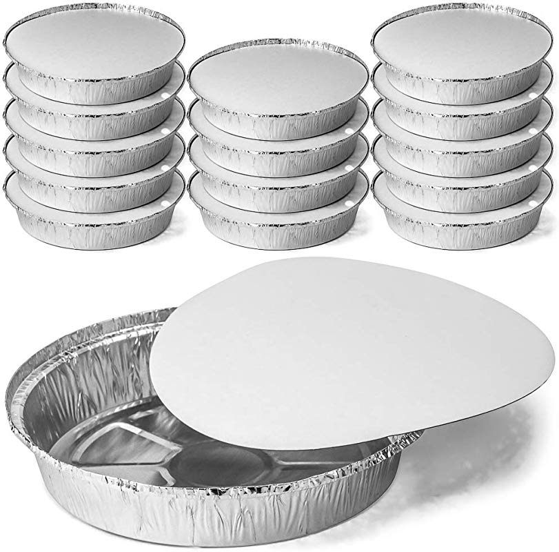 DecorRack Round 9 Inch Aluminum Pans With Flat Board Lid Heavy Duty Tin Foil Pans Perfect For Reheating Baking Roasting Meal Prep To Go Containers Environmentally Friendly Pack Of 14