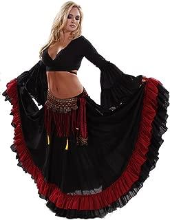 Belly Dance Tribal Ruffle Skirt, Top & Fringe Belt Costume Set   Stars' Trail