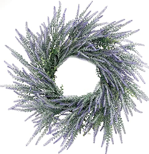 Huashen Fall Winter Lavender Front Door Wreath 24 Inch Autumn Purple Grapevine Farmhouse Large Wreath with Green Leaves for Festival Celebration Front Door Wall Window Party Decoration Home Décor