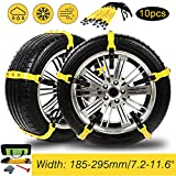 Tire Chains, 10PCs Anti-Skid Chains Car Safety Chains Cable Traction Mud Chains Slush Chains Snow Tire Chains Tire Anti-Slip Universal Snow Chains for Trucks/Car/SUV for Tire Width:185-295mm/7.2-11.6'