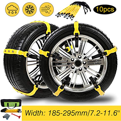Tire Chains, 10PCs Anti-Skid Chains Car Safety Chains Cable Traction Mud Chains Slush Chains Snow Tire Chains Tire Anti-Slip Universal Snow Chains for Trucks/Car/SUV for Tire Width:185-295mm/7.2-11.6""