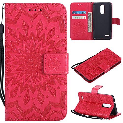 NOMO LG Aristo 2 Case,LG Tribute Dynasty Case,LG Zone 4 Wallet Case,LG K8 2018 Flip Case PU Leather Emboss Mandala Sun Flower Folio Magnetic Kickstand Cover with Card Slots for LG Aristo 2 X210 Rose