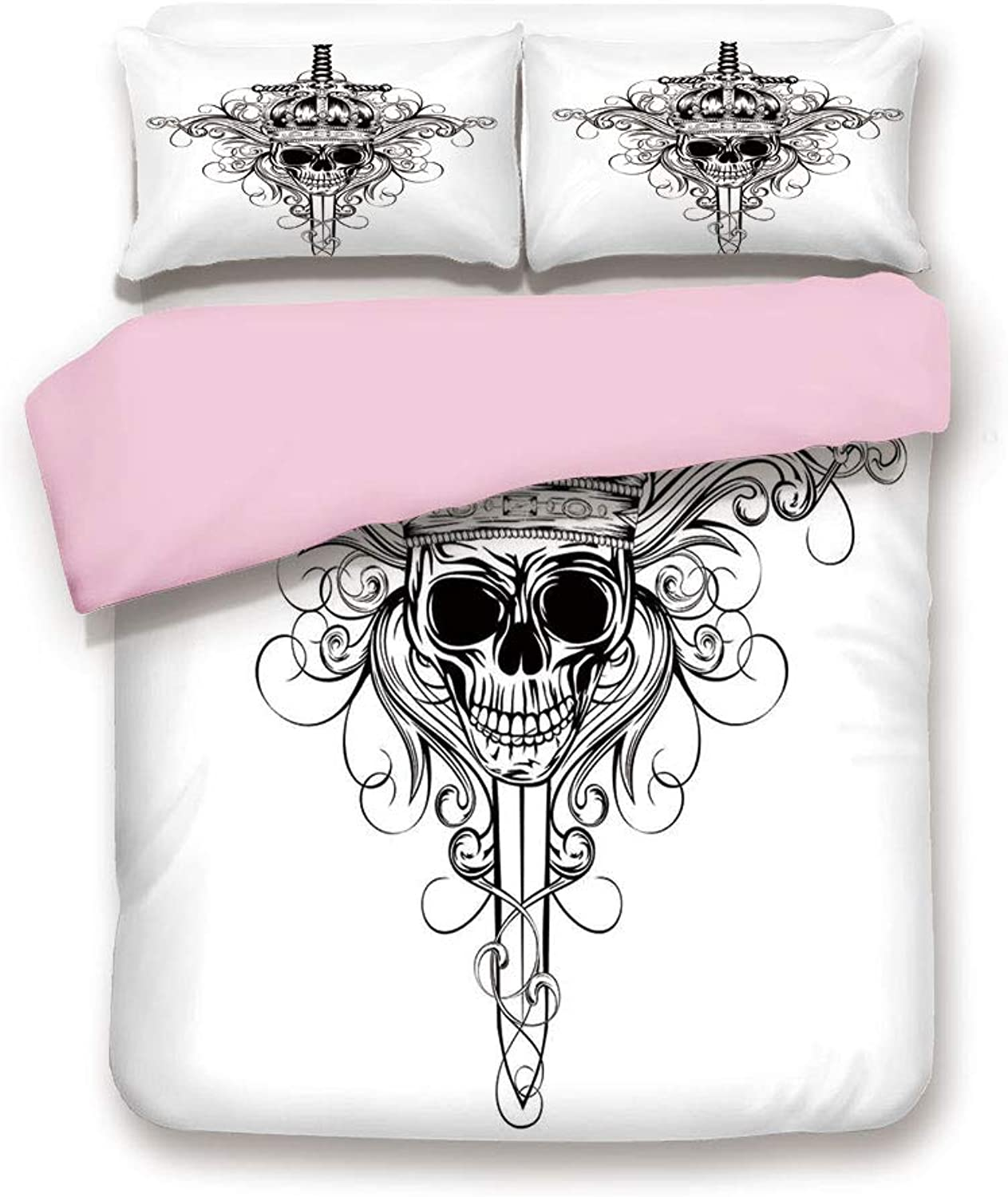 Pink Duvet Cover Set,Twin Size,Skull in Crown and Crossed Swords Patterns King Warrior Historic Illustration,Decorative 3 Piece Bedding Set with 2 Pillow Sham,Best Gift For Girls Women,Black and White