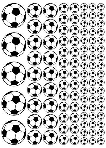100 Aufkleber, Fußball, Sticker, 15-50 mm, aus PVC, Folie, bedruckt, selbstklebend, EM, WM, Bundesliga