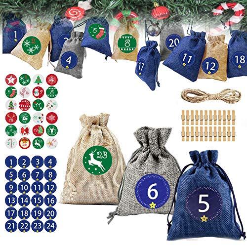 Nifogo Kinder Adventskalender zum, Festival zum Befüllen Kinder, 24 Adventskalender zum Befüllen, DIY Stoffbeutel Weihnachtskalender Tüten (24PCS)