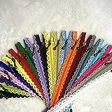 WKXFJJWZC 40 cremalleras de extremo cerrado de encaje 3# 40cm Nylon para bolsos de costura multicolor Mezcla