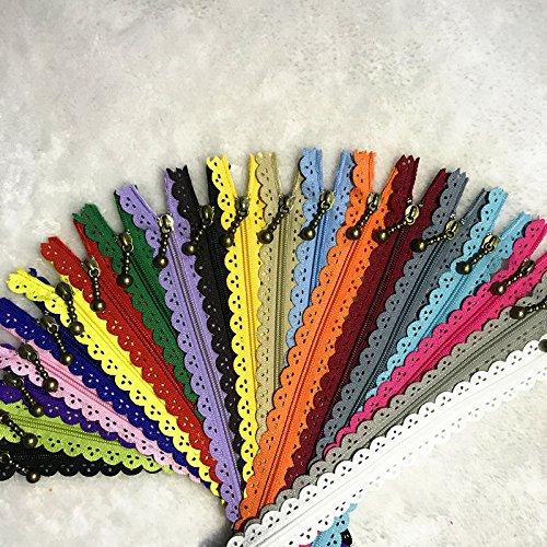 WKXFJJWZC 40pcs Encaje Cerrado Extremo Cremalleras 3# 40cm Nylon para Bolsos Bolsos Multicolor Costura (Mix)