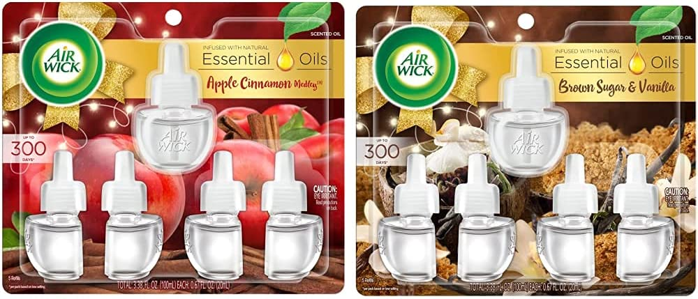 Air Wick, Plug in Scented Oil 5 Refills, Apple Cinnamon Medley, 3.38 oz and Plug in Scented Oil 5 Refills, Brown Sugar and Vanilla, Fall scent, Fall spray, 0.67 Fl Oz (Pack of 5)