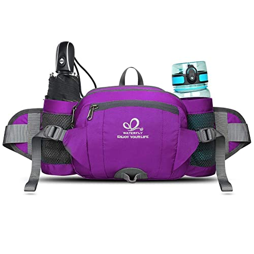 8557ffcc02c5 WATERFLY Fanny Pack with Water Bottle Holder Unisex Hiking Waist Packs for  Walking Running Lumbar Pack