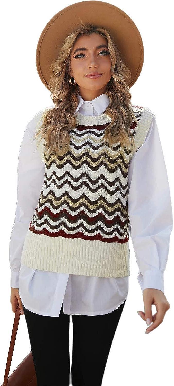 Women Red Wavy Stripes Knit Vest Pullover Sweater