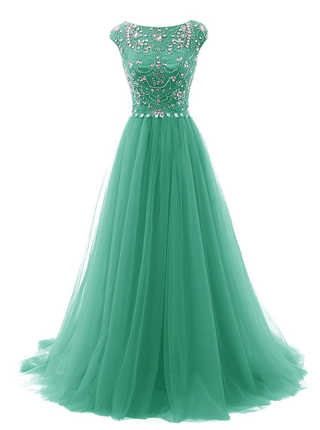 Available at Amazon: FASHION DRESS Women's Beads Long Prom Dress Tulle Cap Sleeves Evening Dress