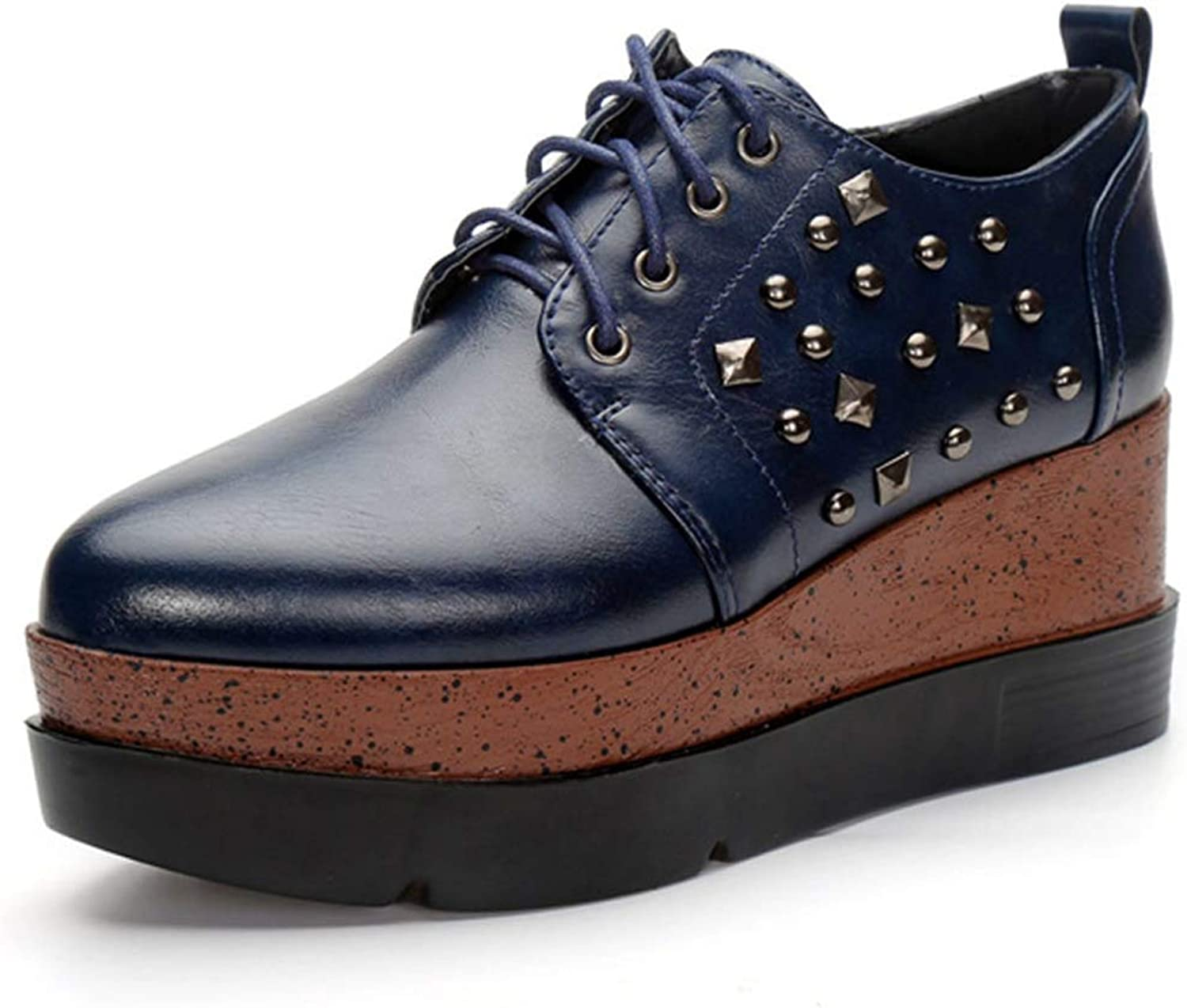 CYBLING Women's Fashion Rivet Platform Wedges Sneakers High Heel Pointed Toe Lace-up Oxford shoes