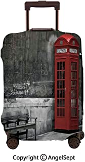 Washable Polyster Travel Luggage Protector,Famous British Phone Boot in London Streets Important Icon of Town Urban Life Photo Red Grey,26x37.8inches,Fashion Baggage Suitcase Cover