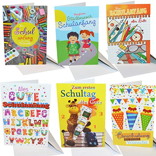 thb richter 8 Stück / 8er-Set Glückwunschkarten zum Schulanfang Einschulung Schule Schultag Grußkarten mit weißem Umschlag
