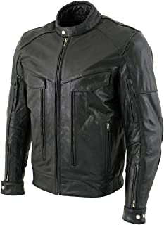 Xelement B4495 'Bandit' Men's Black Buffalo Leather Cruiser Motorcycle Jacket - X-Large