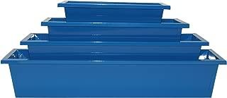 HiT 8625E B S/4 Enameled Rectangular Galvanized Window Planter (Set of 4), Blue