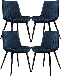 ZCXBHD Cuero de la PU Sillas Comedor Conjunto de 4 Clásico Sillas Cocina Sala Sillas Esquina con Patas Metal Asiento y Respaldos for sillas de Restaurante (Color : Blue)