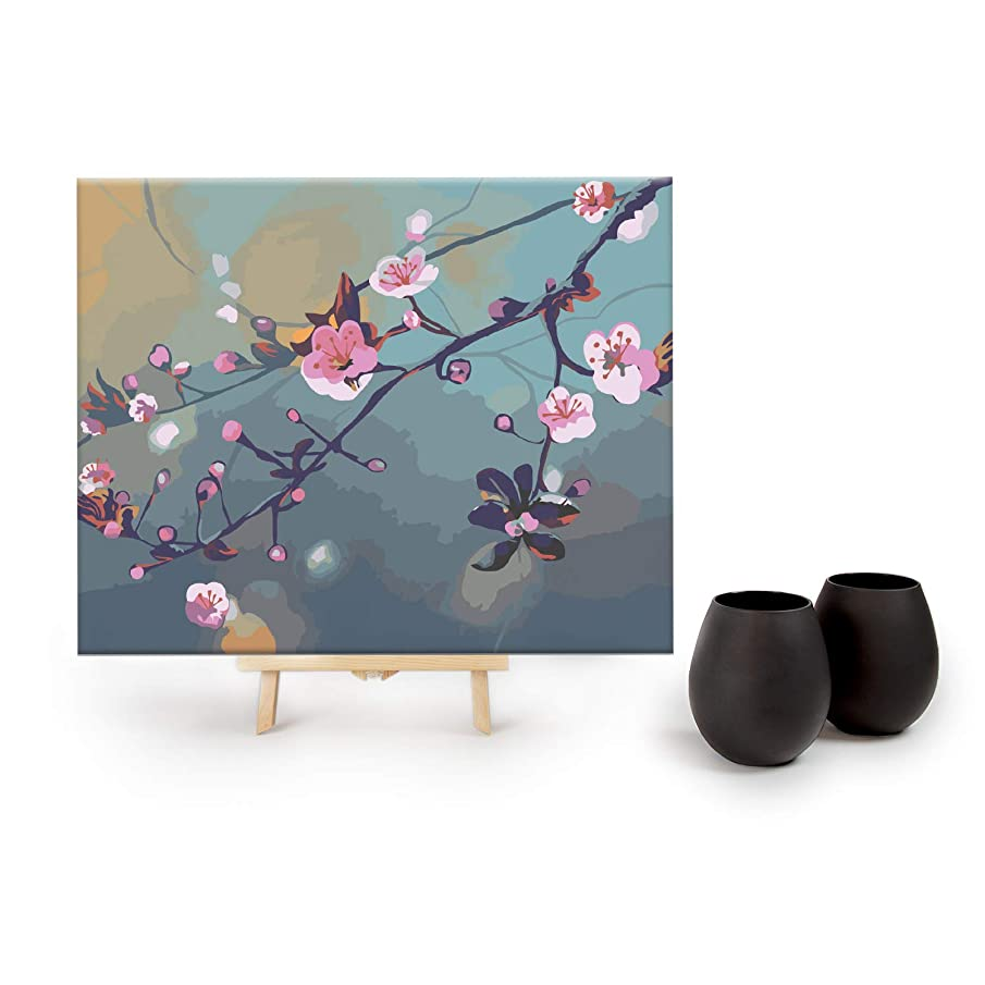 Drink by Numbers - DIY Paint by Numbers Kits for Adults by Big Betty - 16x20 Inches - Includes: 2 Matte Black Stemless Wine Glasses & 2 Cherry Blossom Canvases