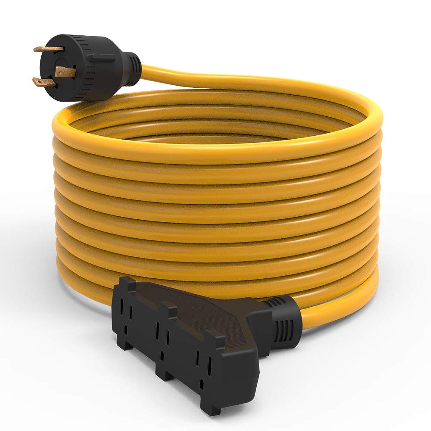 BougeRV Generator Extension Cord 25 Feet 30Amp 125Volt Generator Power 3750 Watts Extension Cord (Nema L5-30P to three 5-15R)