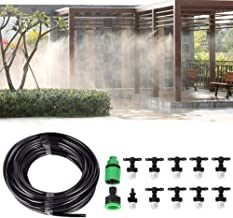Kadaon 10m Home Garden Patio Misting Micro Flow Drip Irrigation Misting Cooling System with 10pcs Plastic Mist Nozzle Sprinkler for Plant Flower