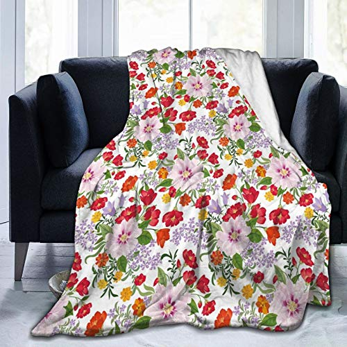 Manta de forro polar ultrasuave para adultos, con flores silvestres florecientes, con clavel, color lila, veraniego, prado, suave, cómoda, manta para sofá, 152 x 127 cm