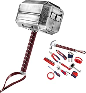 Mighty Thor Hammer Tool Set 29-Piece Tool Kit Avengers Mjolnir General Household Hand Tool Kit with Plastic Toolbox Storag...